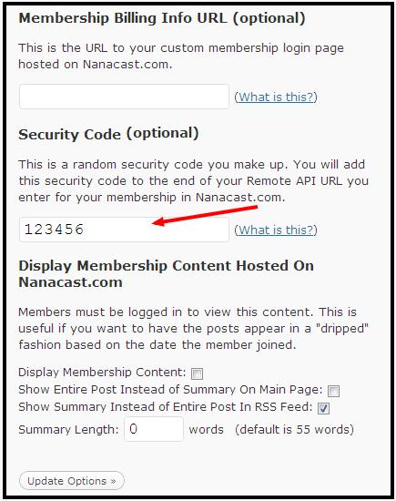 Memberlock Security Code